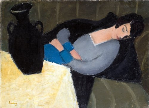 Sleeping-Lady-with-Black-Vase-by-Robert-Bereny-1920s